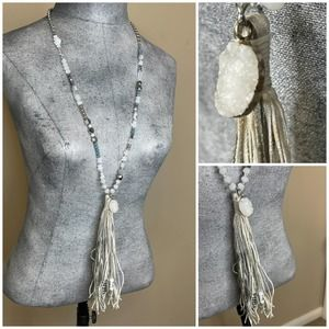 Chico's signed jewelry necklace white gray tassel